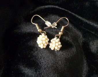 Vintage Faux Seed Pearl Cluster Dangle Earrings