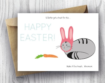 Easter Card Printable, Printable Easter Card, Funny Easter Cat Bunny Card, DIY Cat Card, Easter Bunny Cat Card Instant Download