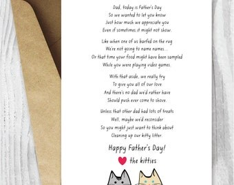 Printable Father's Day Card, Funny Cat Father's Day Card, From the Cats Printable Father's Day Card Instant Download, Funny Father's Day