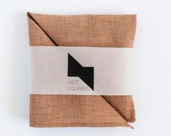 Pocket square orange chambray - orange chambray handkerchief - orange chambray wedding pocket squares collection - groom pocket square