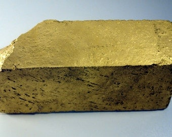 Shiny Gold Brick Bookend - Reclaimed Material