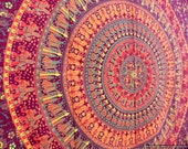 BSS256 Maroon base Elephant Mandala Tapestry orange, Psychedelic tapesty, hippie tapestries, Indian  Wall hanging, gypsy wall decor, textile
