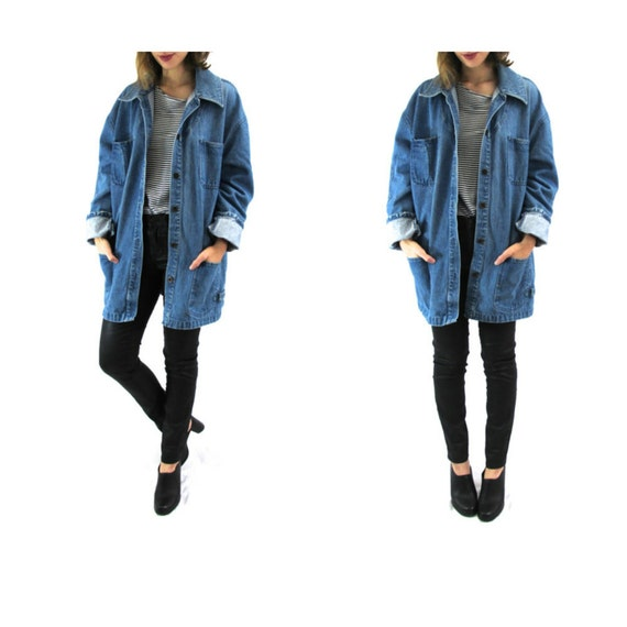 90s Oversized Long Denim Jacket Womens Vintage Denim Jacket