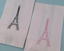 Paris Party Bags: White Paper Paris Favor Bags, Eiffel Tower Treat Bags, Paris Party Supplies