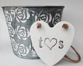 White clay heart with initials personalised heart for wedding anniversary  wedding decor  wedding favor  wedding gift  birthday