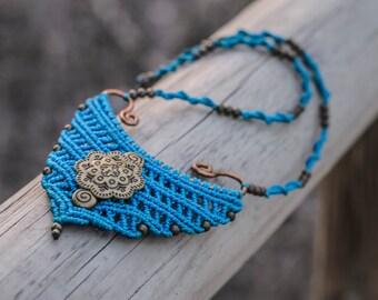 electric blue MACRAME NECKLACE with gold mandala,tribal, ethnic, indian, boho, hippie, micro macrame.