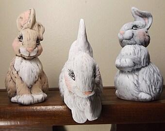 Ceramic Bunny, Ceramic Rabbit, Hand Painted Bunny, Hand Painted Rabbit, Set Of 3 Rabbits, Set Of 3 Bunnies, Hand Painted Ceramics