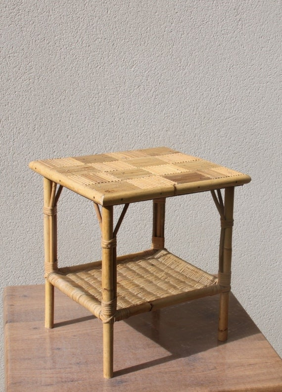 Small coffee table small table wicker rattan bamboo straw for Table basse en osier