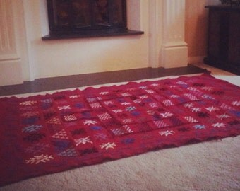 Moroccan handmade red rug/wall-hanging.