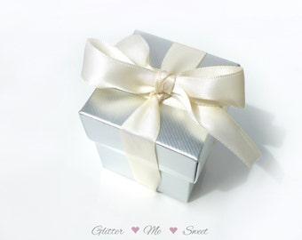 Silver Favor Box - Silver Party Decoration - Wedding Decor- Wedding Favor Box - Bridal Shower Decor - Silver Wedding Anniversary -DIY Favor