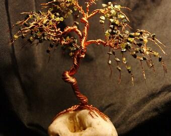 Handmade Green Gemstone Tree Sculpture