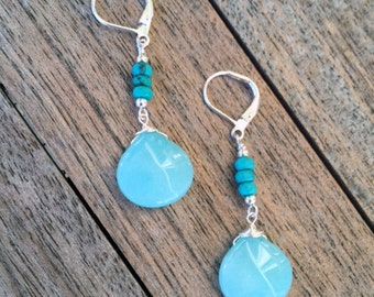 Holiday Sale! Beautiful Turquoise Blue Jade Earrings with Sterling Silver Leverbacks