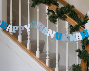 Happy Hannukah banner, blue, white gray, holiday banner