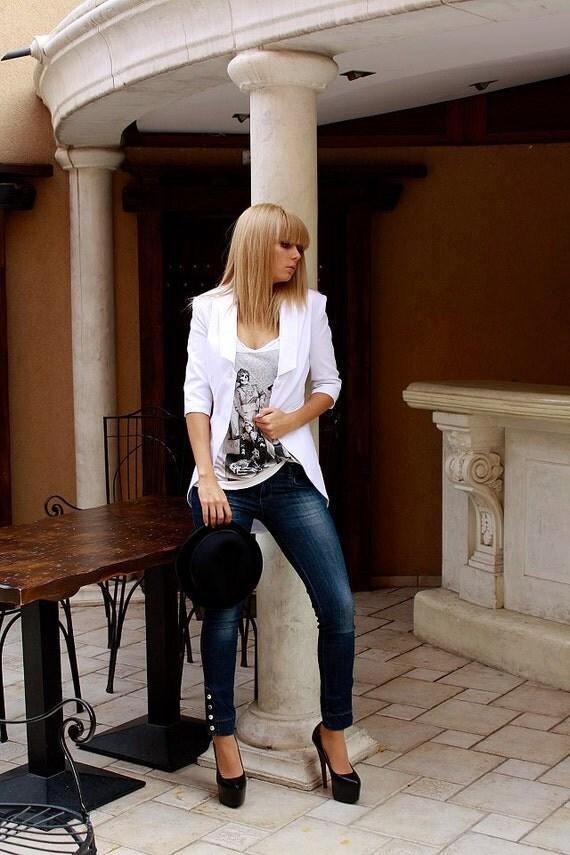 Asymmetrical White Blazer / White jacket / Cutaway jacket /  White blazer / Sport blazer / Cotton blazer