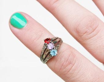 Sale-Dalia&Daughter-multi colored-Sterling silver ring-Size 6