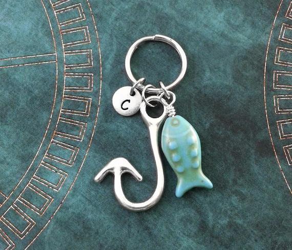 Fish hook keychain fishhook keychain blue fish keychain for Fish hook keychain