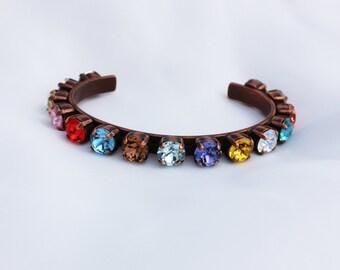 Flower Garden 8mm Swarovski Crystal Adjustable Bracelet