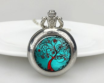 Tree of Life   Pocket Watch, Silver Women Watch Necklace, Vintage Map,Christmas Gifts for Mother, Bride,Bridemaids, Weddnig Gifts