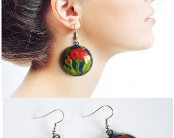 Red poppies cute earrings valentines day Wood Hand painted Red blue green folk handmade Dangling Earrings wooden earrings sister Gift ideas