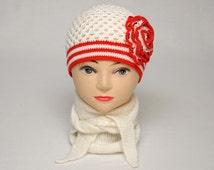 Girls Hats Crochet Hat with flower Girls Beanie Flower Spring Hat toddler gift baby gift for Kids Hats Kids fall Beaded hat Crochet Beanie