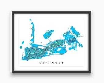 Key West Map, Key West Art Print, Florida Keys