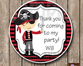 Personalized - Pirate Favor Tag - Pirate Birthday Tag - Print at Home Ahoy matey