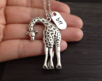 BFF Tall Silver Giraffe Necklace, Best Friend Giraffe Jewelry, Wildlife Animal Jewelry, Safari Jewelry, Zoo Animal Necklace, Gifts Under 20