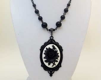 Rose Cameo Necklace Gothic Victorian Horror Jewelry