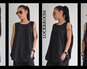Oversized Black tunic/Sleeveless top /Black loose tunic /  Casual black blouse/ plus size top