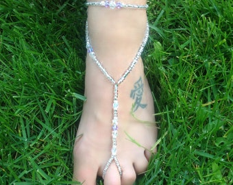 Wedding~Beach Barefoot Sandal ~ Light Purple and Crystal   Style: Paradise