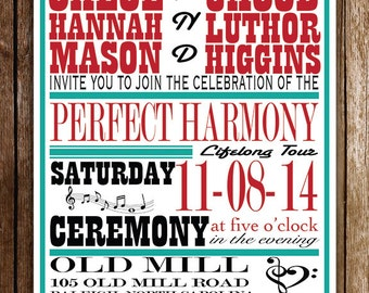 Perfect Harmony Music Themed Wedding Invitation RSVP, WPH1_Inv