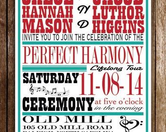 Perfect Harmony Music Themed Wedding Invitation RSVP, DIGITAL