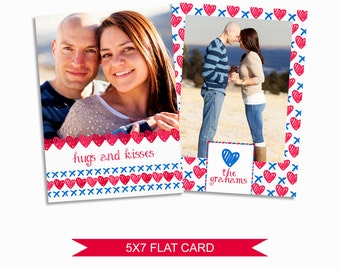Valentine's Day Card Template - 5x7 Digital Photography Photoshop Files - Template for Photographers - VDC04 - INSTANT DOWNLOAD