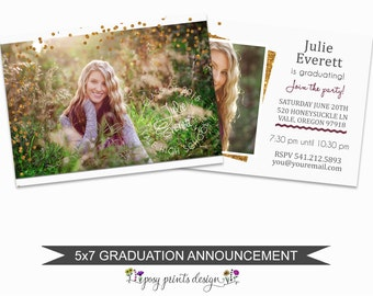 Graduation Announcement Template - 5x7 Digital Photography Photoshop Files - Template for Photographers - GC03 - INSTANT DOWNLOAD