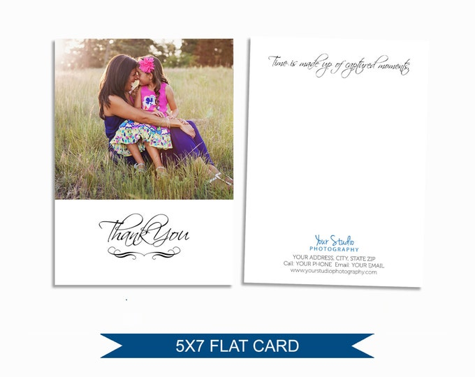 Photographer Thank You Card - Template for Photographers - Digital Photoshop Template - 5x7 Photography Design - M007