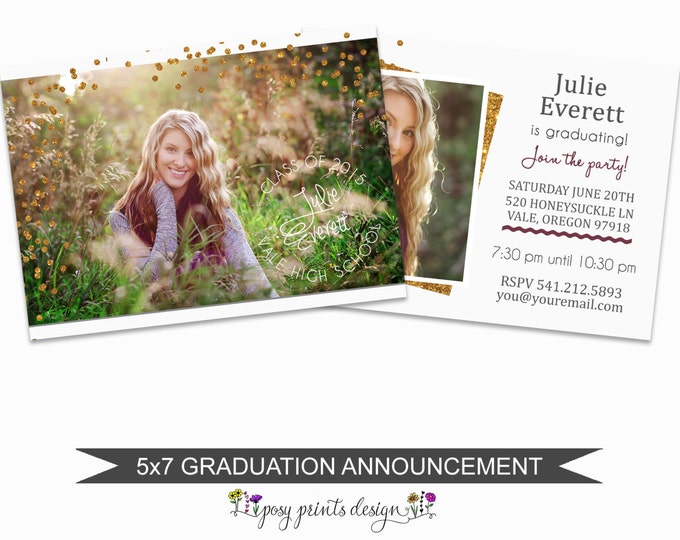 Graduation Announcement Template - 5x7 Digital Photography Photoshop Files - Template for Photographers - GC03 - INSTANT DOWNLOAD