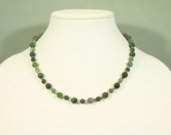 Green Moss Agate Semi-Precious Gemstone Necklace