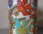 Vintage 1970s extra large tin canister / tin container, funky Acapulco style design.