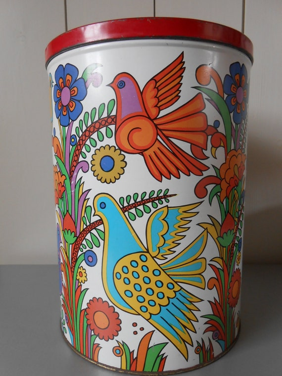 RESERVED FOR FRANCES - Vintage 1970s extra large tin canister / tin container, funky Acapulco style design.