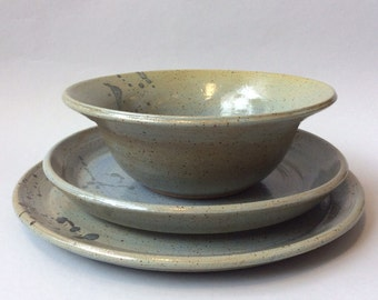 Stoneware Place Setting In Speckled Blue/Green/Brown