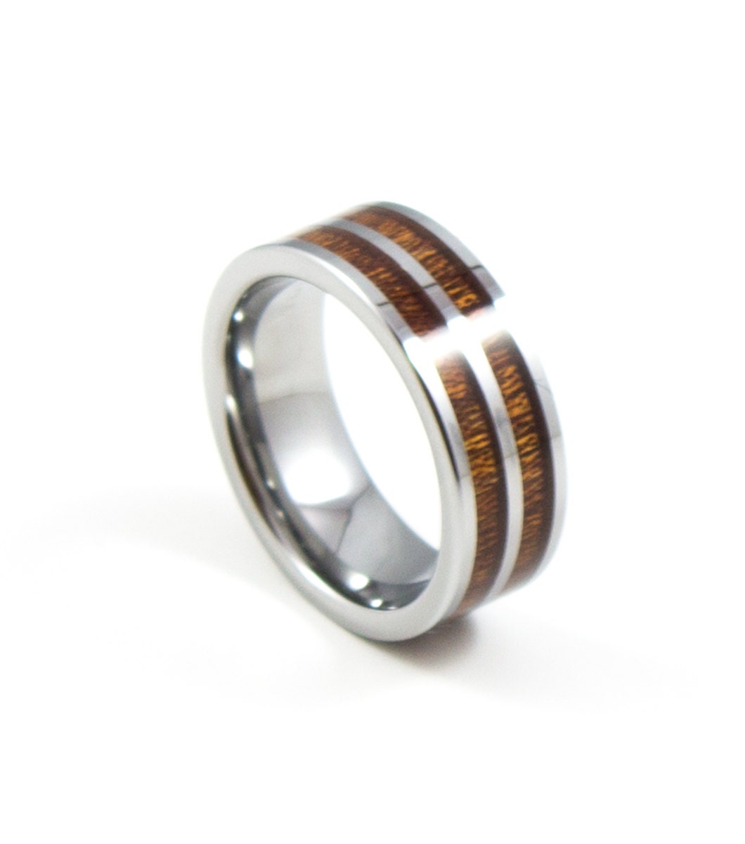double band red wood inlay men 39 s tungsten wedding by