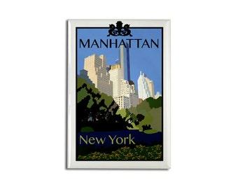 "Magnet: Manhattan New York, 2 1/8"" x 3 1/8"""