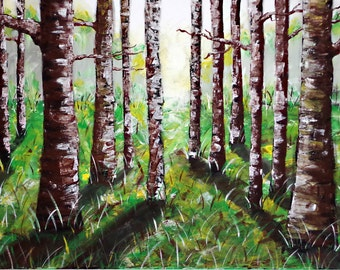 ORIGINAL painting forest, trees, Brown, green 50x70cm unique