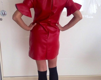 dress/leather dress/red leather dress/romantic dress/tunic