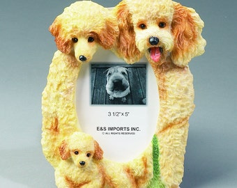 Apricot Poodle Family Photo Frame - Unique Design, Hand Painted.  Makes a Perfect Pet Gift for Poodle Lovers.