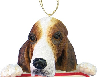 Basset Hound Ornament With Personalized Name Plate A Great Gift For Basset Hound Lovers