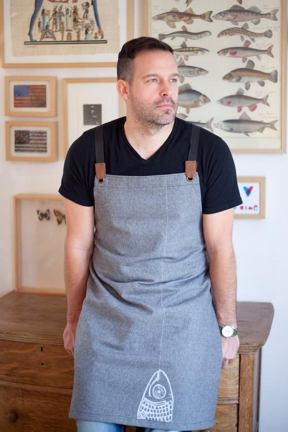 Tablier pour homme coton gris ou anthracite denim Tablier de cuisine pour homme