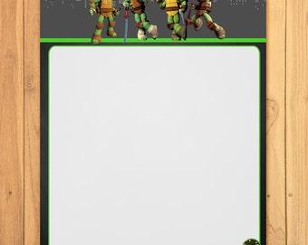 Teenage Mutant Ninja Turtles Stationery Chalkboard *TMNT Party Game * TMNT Birthday Printable * Ninja Turtles Party Favors