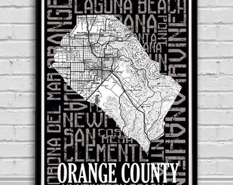 Orange County Typography poster map-City Map Print. Orange County neighborhoods featured  in typography.