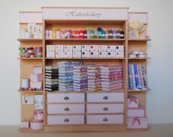 1:12 DOLLHOUSE Cabinet with drawers pink haberdashery
